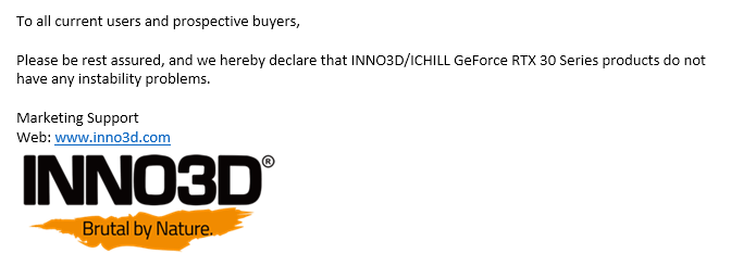 Inno3D Claims its RTX 3080s don't Suffer from Crashes